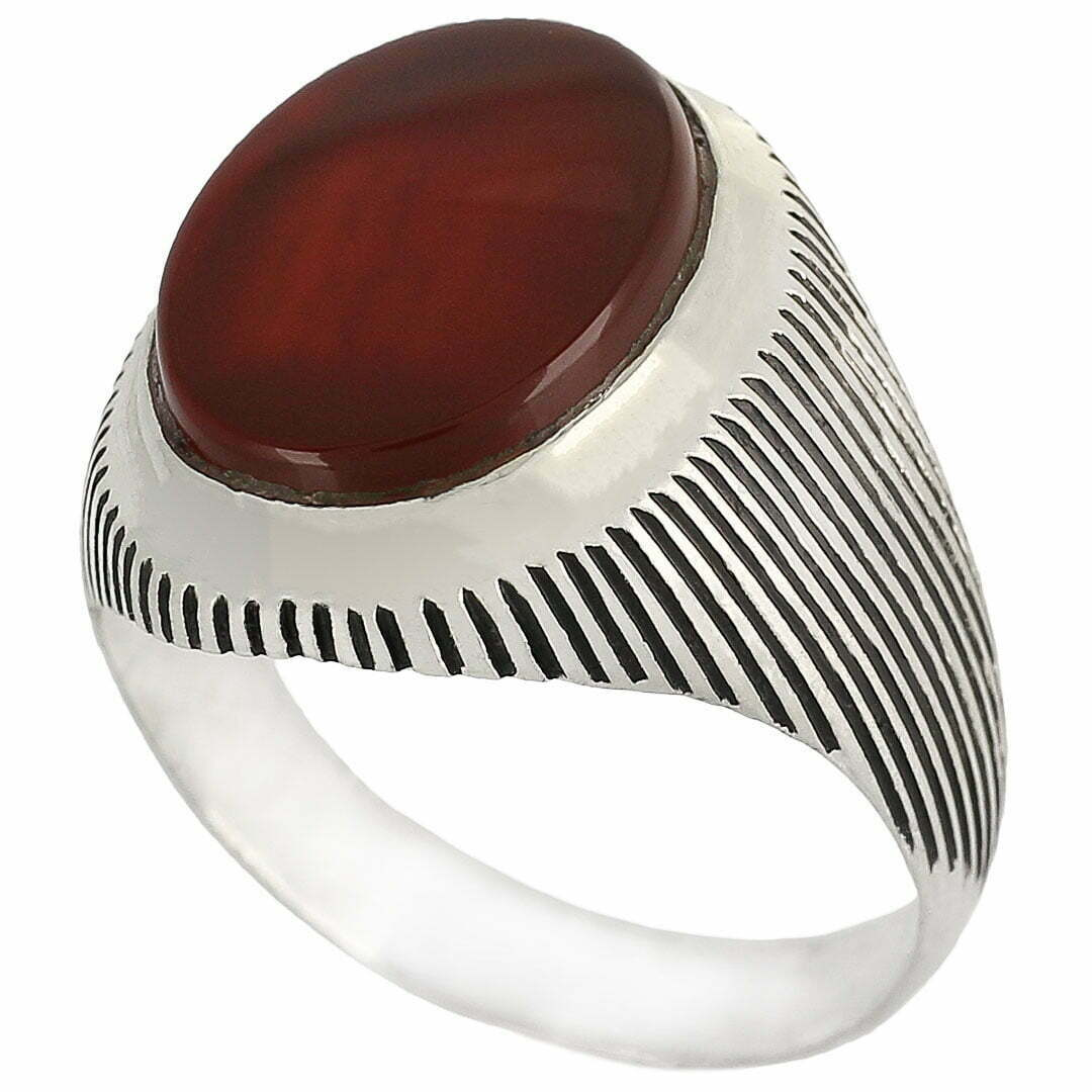 خرید انگشتر عقیق سرخ نقره با حرز امام جواد