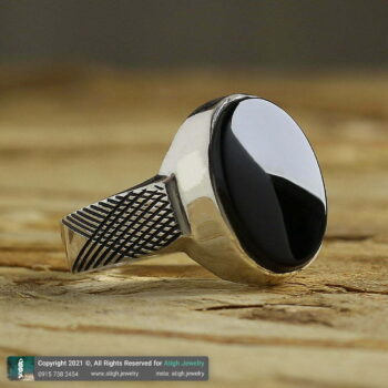 خرید انگشتر عقیق سیاه نقره با حرز امام جواد