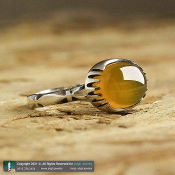 خرید انگشتر عقیق زرد شرف الشمس نقره