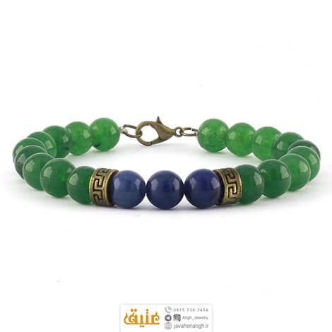 دستبند عقیق سبز و عقیق آبی